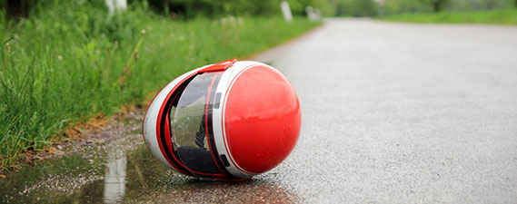 Photo: Helmet on the road after a motorcycle accident